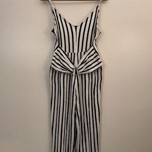 White and dark blue stripped jumpsuit